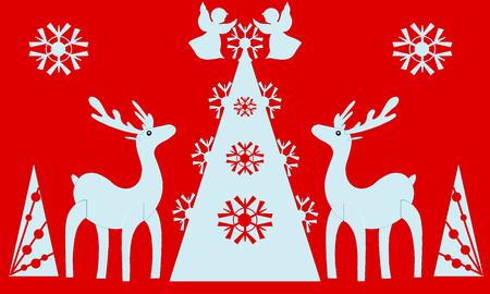 Christmas tree, angels, reindeer. Red background. Illustration. illustration