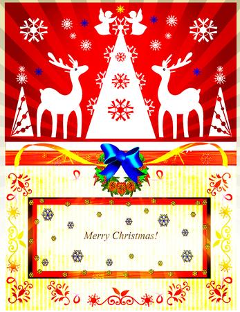 Christmas tree, angels, reindeer. Illustration.Christmas card. illustration