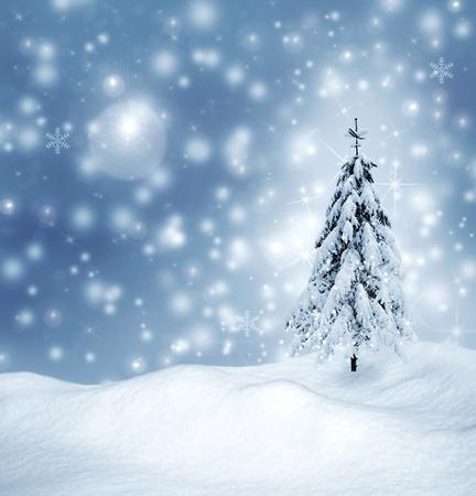 snow scene: Christmas card