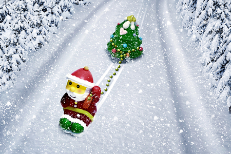 Santa claus in the forest photo