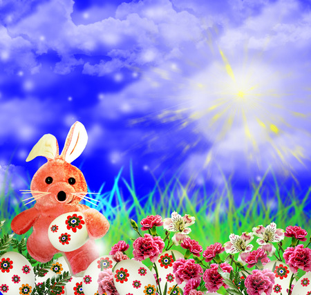 Easter rabbit and eggs photo