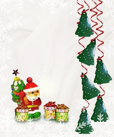 Christmas card. Santa Claus and gifts. photo