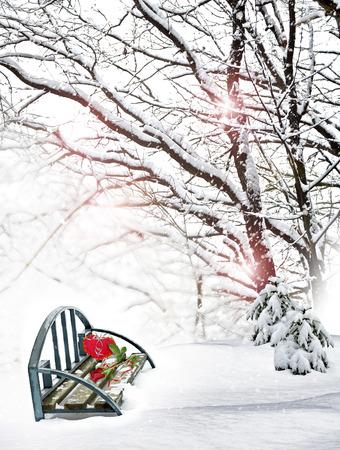 Winter landscape. Valentines Day. photo
