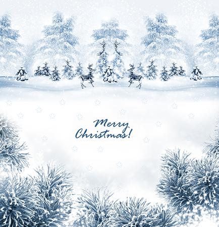 Winter. Snowfall. christmas card photo