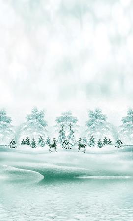snowfall: Winter. Snowfall. christmas card