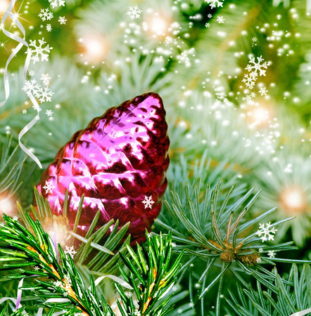 pine cone: Christmas toy pine cone on the tree
