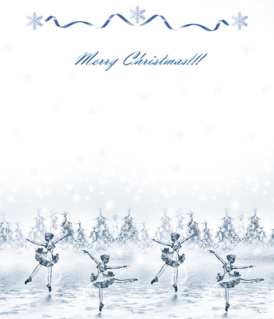 'snow maiden': Dancing Snow Maiden in the winter forest. Holiday card Stock Photo