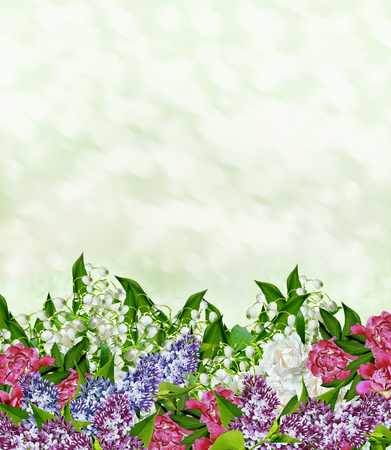 Floral background. Flowers lilies of the valley. peony