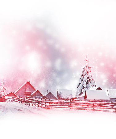 nature scenery: The village in winter forest