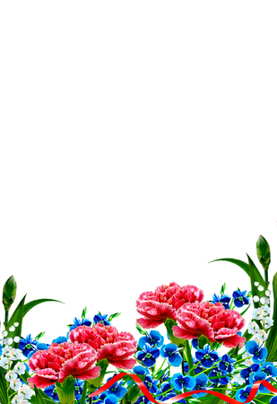 petites fleurs: Bouquet of flowers carnation. Flowers isolated on white background. holiday card Banque d'images