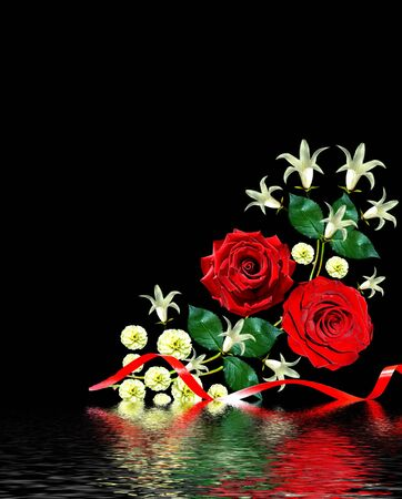 path to romance: flowers roses and bells isolated on black background Stock Photo