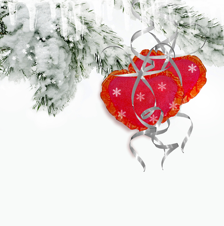 frippery: Winter Forest. Trees in the snow. Heart.Holiday card