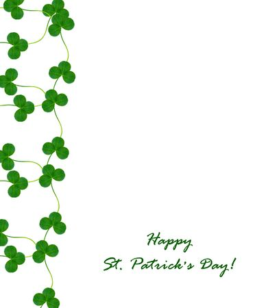 four leafed: Green clover leaves on a background summer landscape. St.Patrick s Day
