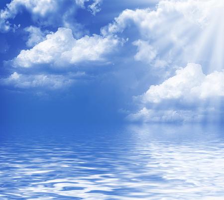 Landscape. Blue sky with clouds and sun. Zdjęcie Seryjne