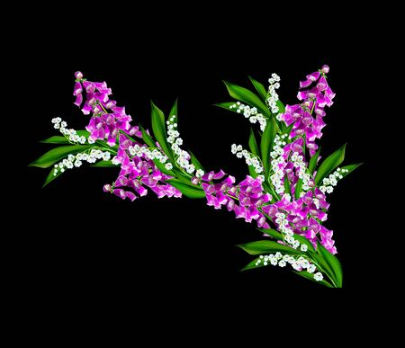 path to romance: campanula flowers twig isolated on black background. delicate flower