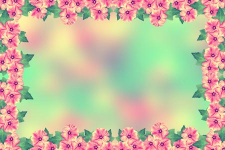 landscape flowers: Beautiful beautiful delicate flowers of petunias. Summer landscape.