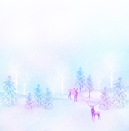 winter photos: forest in the frost. Winter landscape. Collage of photos of fir trees and deer.