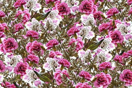 path to romance: Floral background of bright colorful flowers alstroemeria and carnations.