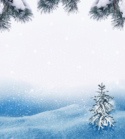 Winter. Snow covered trees. Festive frame with fir branches.