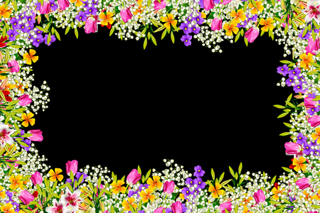 Colorful spring flowers isolated on black background. Stock Photo