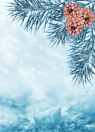 Christmas background. Winter landscape. snow covered trees.