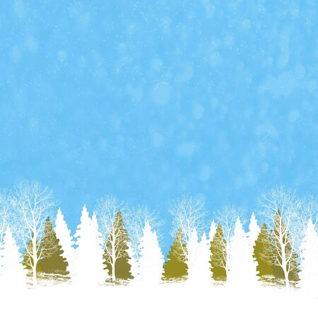 Christmas illustration. Frozen winter forest with snow covered trees.