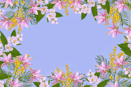 Bush of yellow spring flowers. Floral background.