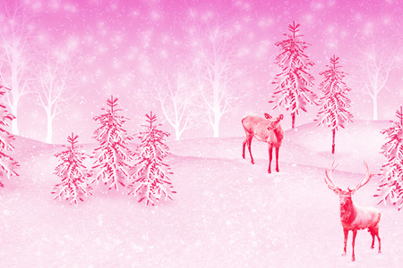 Forest in the frost. Winter landscape. Snow covered trees. Collage of photos of fir trees and deer.