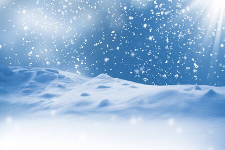 Abstract greeting card. Natural Christmas background sky. snowfall, snowflakes, snowdrifts. Winter landscape with falling snow