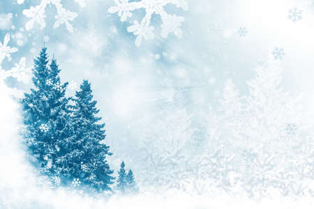 Merry Christmas and Happy New Year. Frozen winter forest with snow covered trees. outdoor