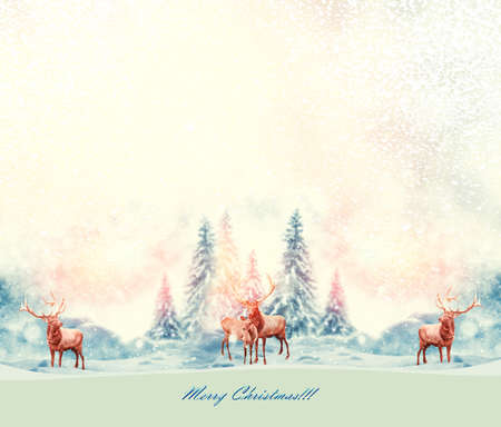 forest in the frost. Winter landscape. Snow covered trees. deer. Merry Christmas and Happy New Year. cervus elaphus