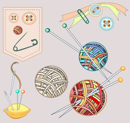 Needlework sew and knitting set stuff  Vector