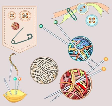 knit stitch: Needlework sew and knitting set stuff