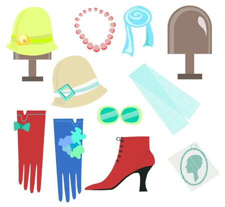 Woman accessories, hat, gloves, glasses isolated on white