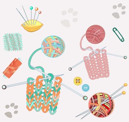 textura lana: Tejer cosas establecido y las huellas de gato aislado en blanco Vectores