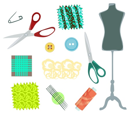 Scissors, mannequin and sewing set stuff  Vector
