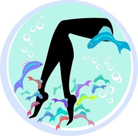 female nipple: Vector fish pedicure spa cure e trattamenti benessere con Garra rufa, medico o di pesce, pesce e pesce nibble kangal