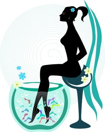 female nipple: Donna che pesci pedicure spa trattamento wellness cura con la garra rufa, medico o di pesce, pesce sgranocchiare e vettore di pesce kangal