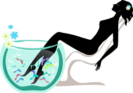 Relaxing woman taking fish spa pedicure wellness care treatment with rufa garra, or doctor fish, nibble fish and kangal fish vector  Vector