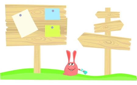 Rabbit and wood billboards or banners Vector