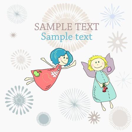 baby angel: Nuovo anno vacanze di Natale o di compleanno con carta disegnata a mano angeli