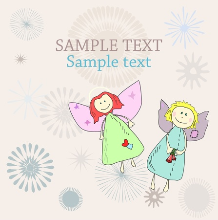 New year Christmas Holiday or Birthday card with hand drawn angels Vector