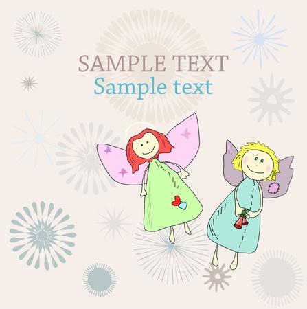 baby angel: Nuovo anno per le vacanze di Natale o di compleanno con carta disegnata a mano angeli Vettoriali