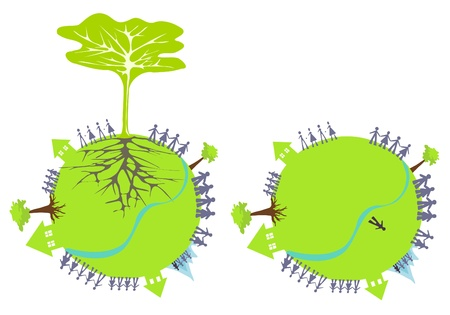 Tree with roots on a green planet with lots of people, houses and water  Vector