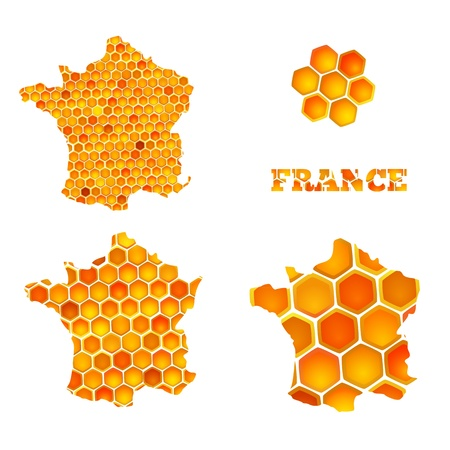 apiculture: Set of map icons of France with honey cells hexagon Illustration