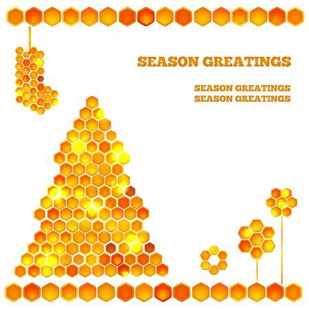 Holiday card with beautiful honey tree - light christmas tree and balls Ilustração