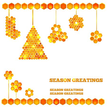 Holiday card with beautiful honey icons - light christmas tree and balls Vector