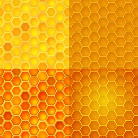 Seamless vector pattern with honey cells, combs Vector