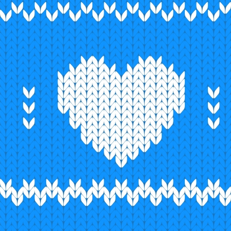 close knit: Knitted textile decorative valentine heart Illustration