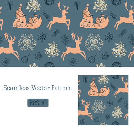 Funny winter christmas vector seamless pattern Stock Vector - 16938471